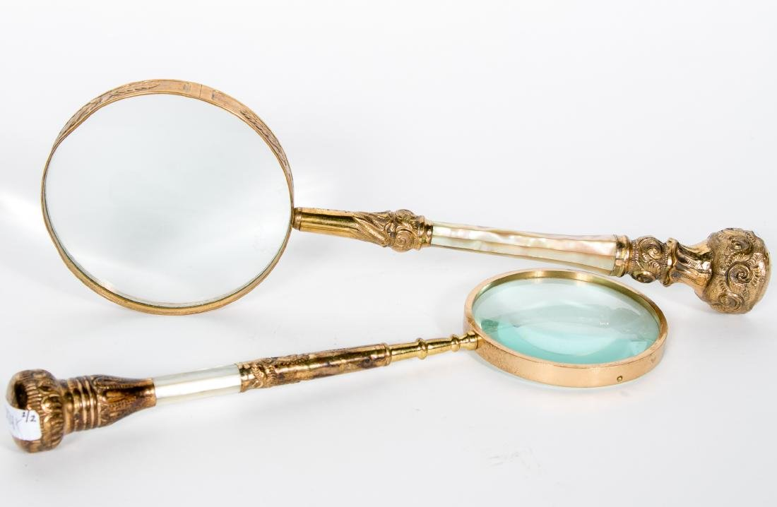Two Gold Filled & MOP Magnifying Glasses
