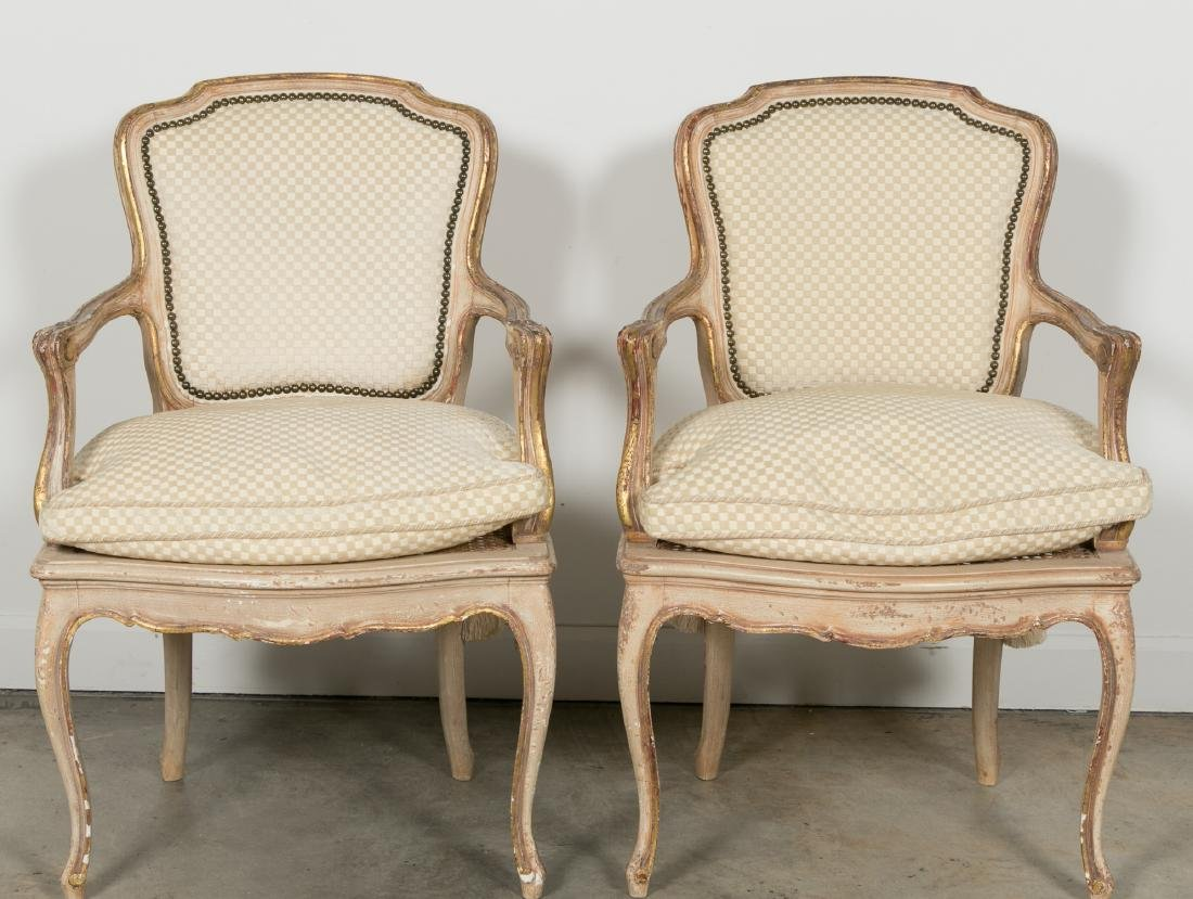 Pair of Louis XV Style Giltwood Caned Armchairs