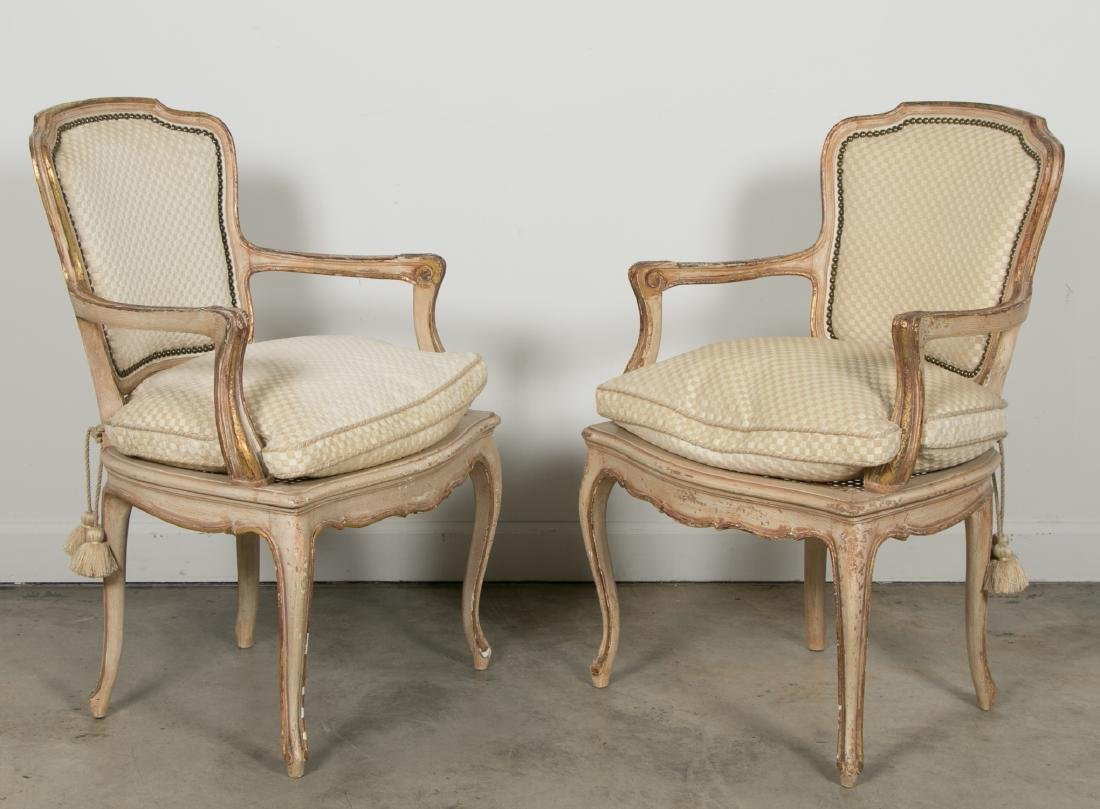 Pair of Louis XV Style Giltwood Caned Armchairs - 2