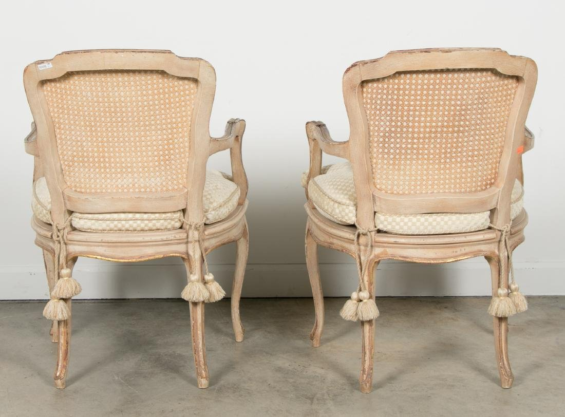 Pair of Louis XV Style Giltwood Caned Armchairs - 3