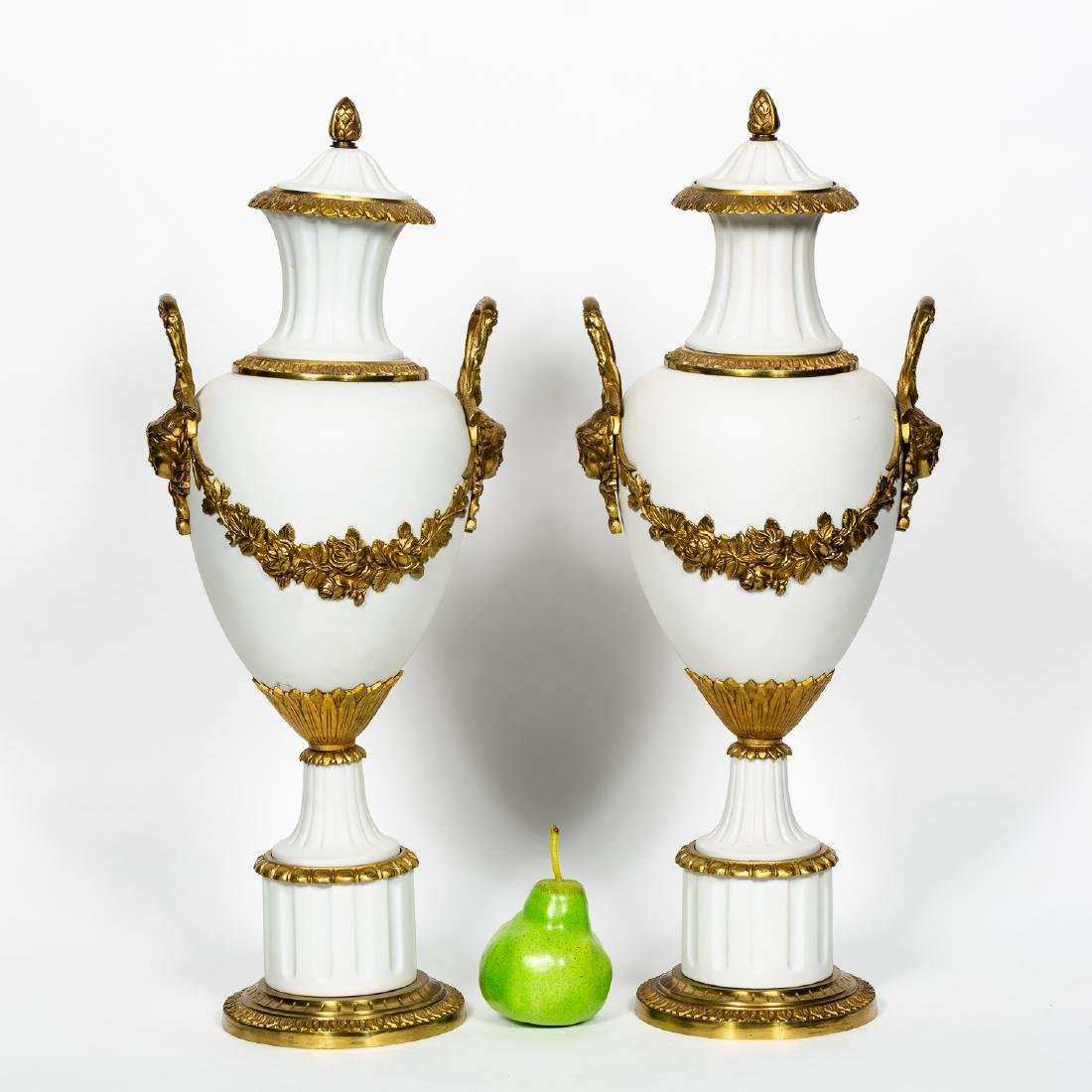 Pair of Neoclassical Bisque & Brass Accented Urns - 2