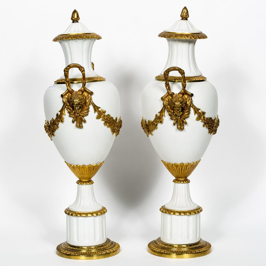 Pair of Neoclassical Bisque & Brass Accented Urns - 3
