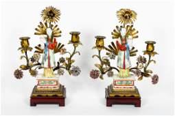 Pair of Samson Asian Figural 2 Light Candelabrum