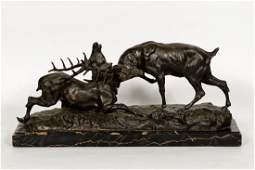 """After T. Cartier, """"Battle of the Stags"""" Sculpture"""