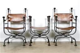 Pair, Wrought Iron Savanarola Chairs & Ottoman
