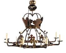 Pair Italian Iron  Gilt Crown Chandeliers