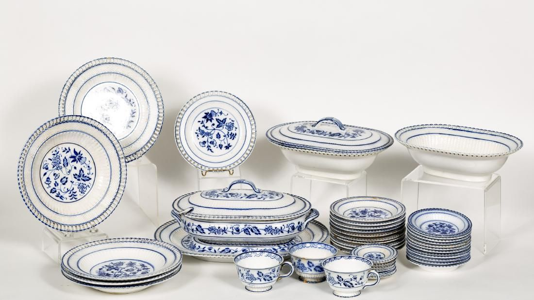 41 PC German Blue & White Reticulated China Set