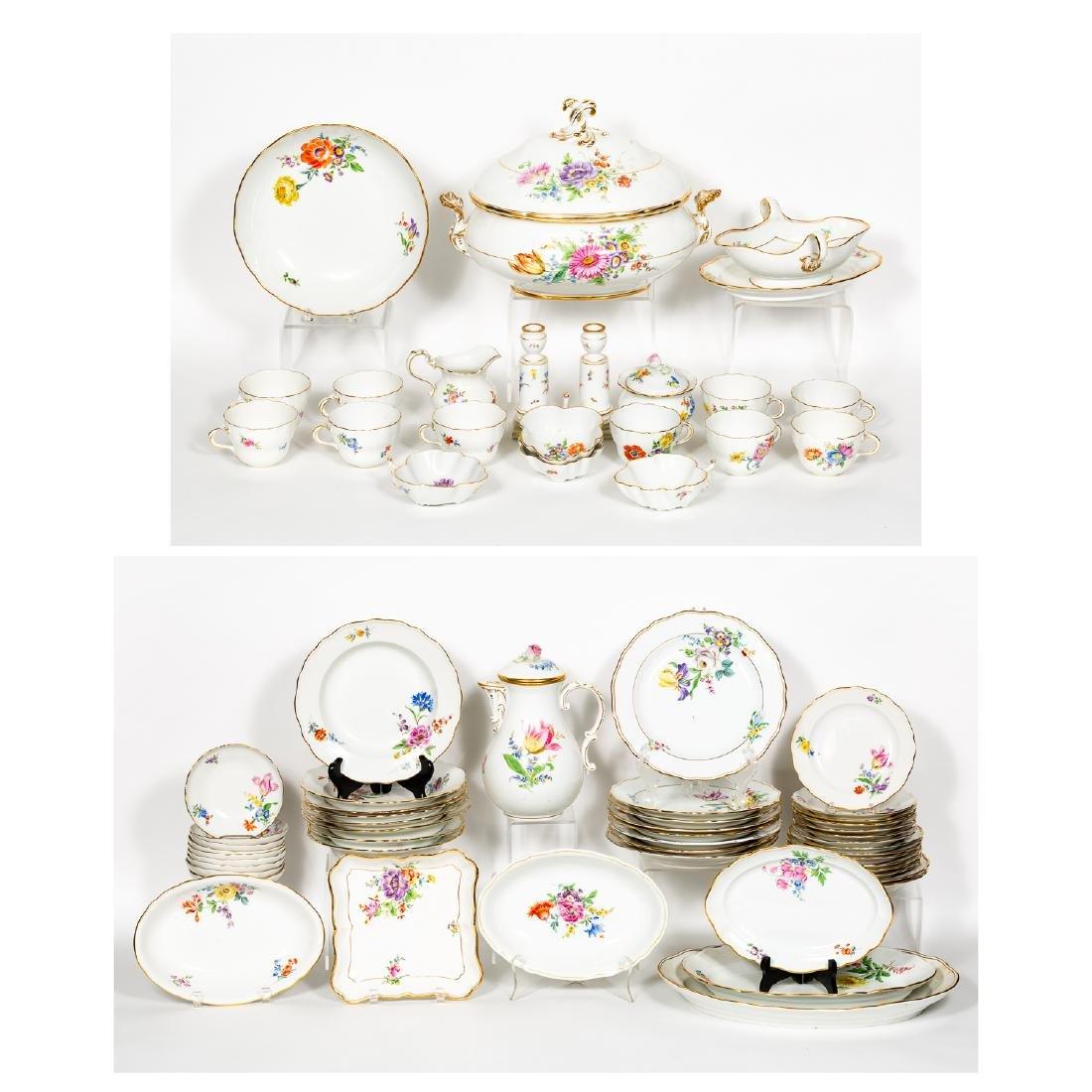 Meissen Porcelain Partial Dinner Service, Marked