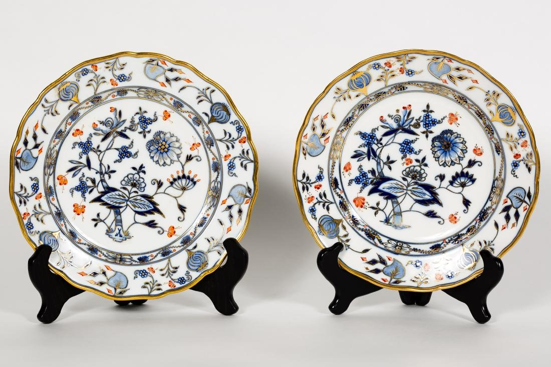 Two Meissen Blue Onion w/ Red Flower Plates