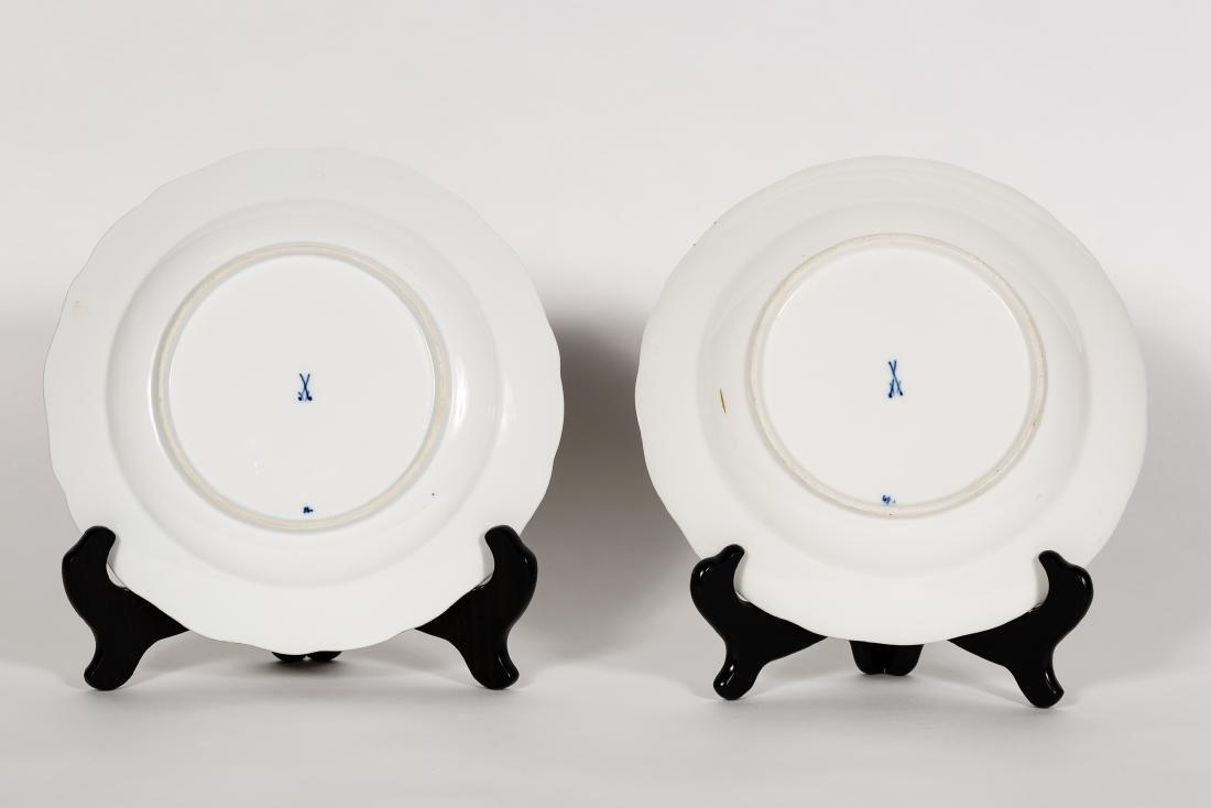 Two Meissen Blue Onion w/ Red Flower Plates - 2
