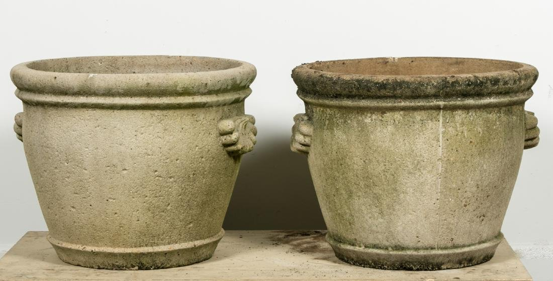 Pair, Round Concrete Planters w/ Shell Handles