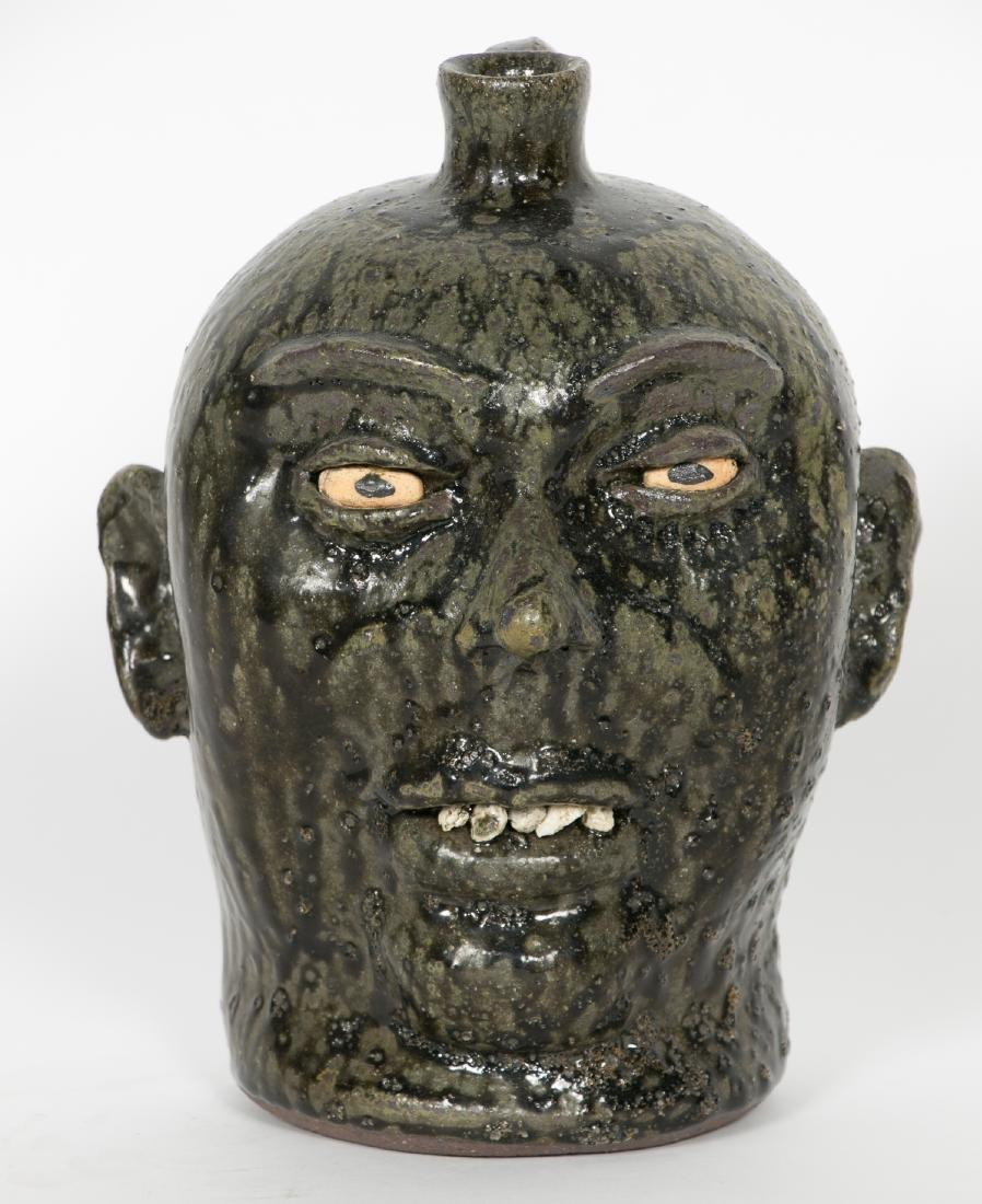 Lanier Meaders Face Pottery Jug, Green & Black