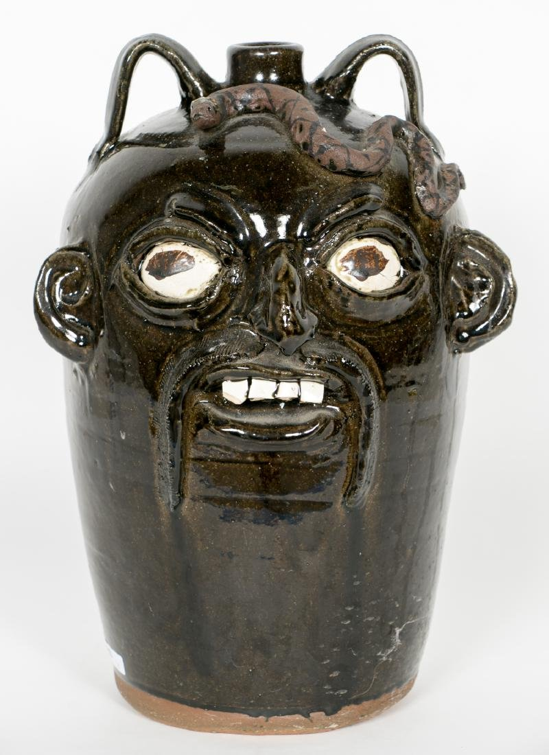 Chester Hewell Face Pottery Jug w. Snake