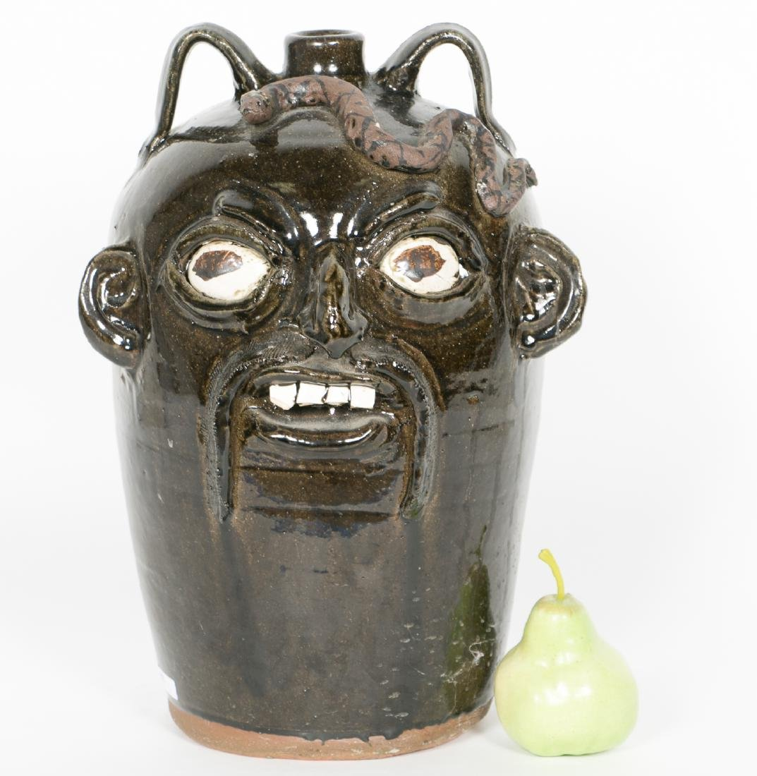 Chester Hewell Face Pottery Jug w. Snake - 5