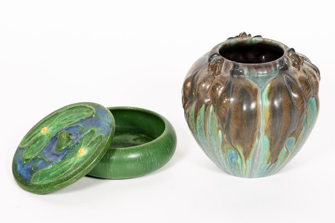 2 Ephraim Faience Pottery Pieces, Vase, Lidded Jar