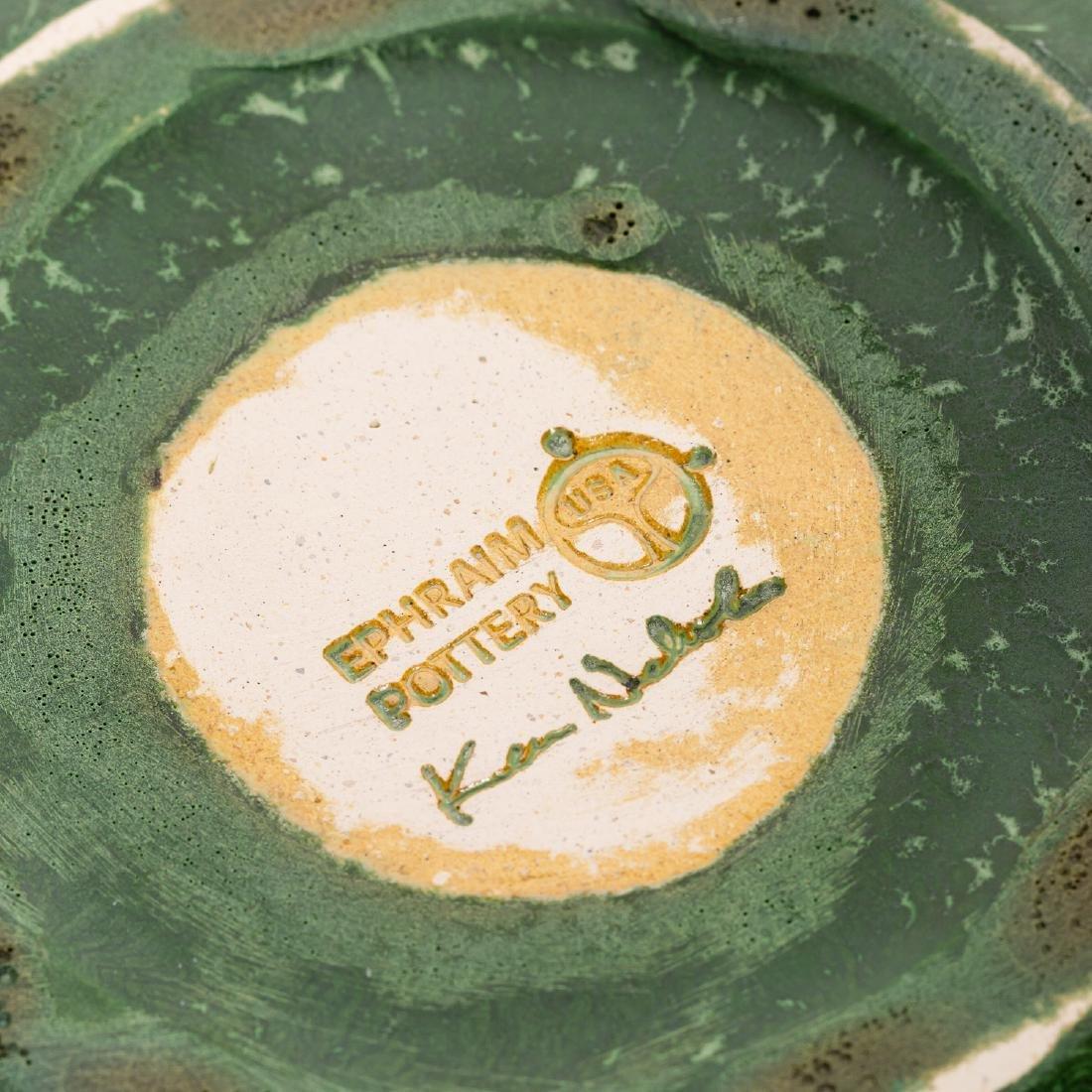 2 Ephraim Faience Pottery Pieces, Vase, Lidded Jar - 4