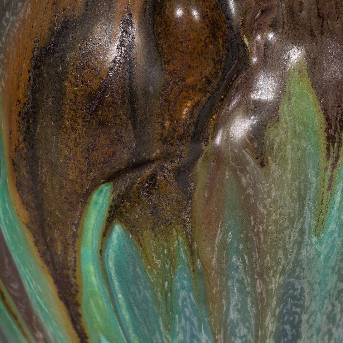 2 Ephraim Faience Pottery Pieces, Vase, Lidded Jar - 7