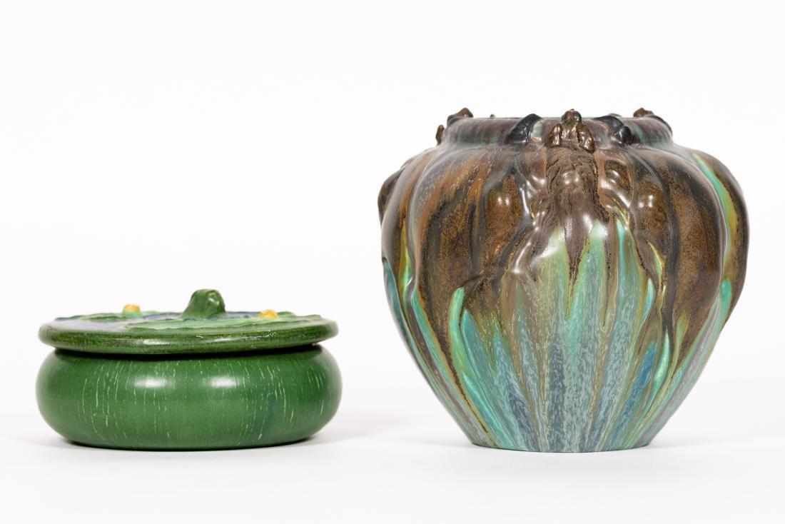 2 Ephraim Faience Pottery Pieces, Vase, Lidded Jar - 9