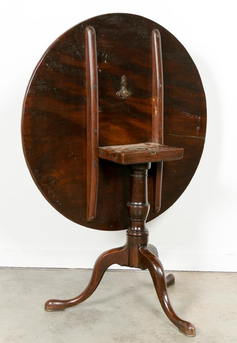Queen Anne Style Tilt Top Mahogany Table - 2