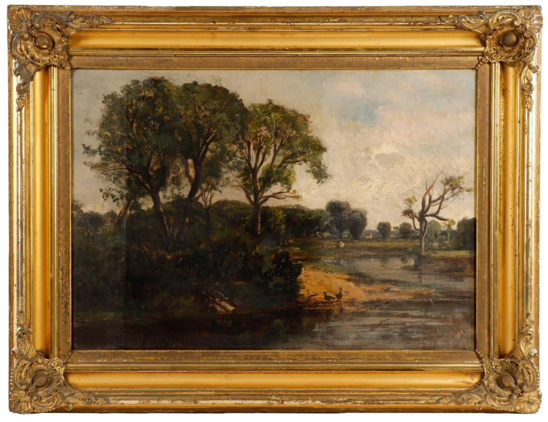 19th C. American School Oil Landscape, Duck Pond