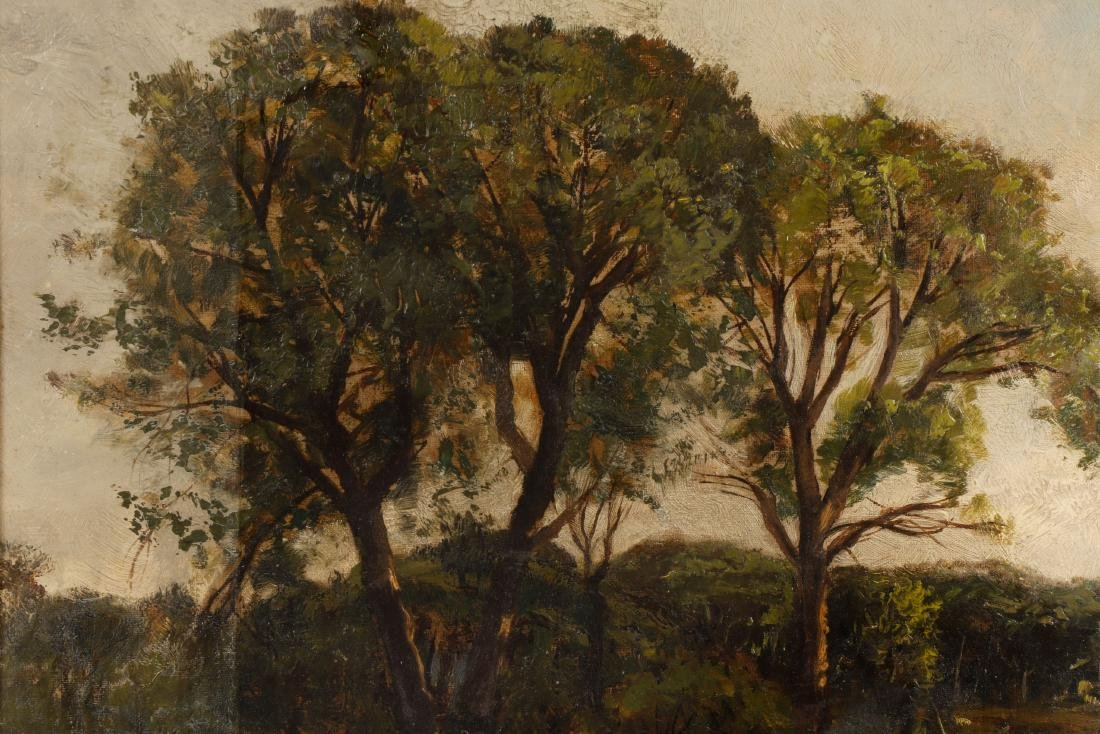 19th C. American School Oil Landscape, Duck Pond - 2