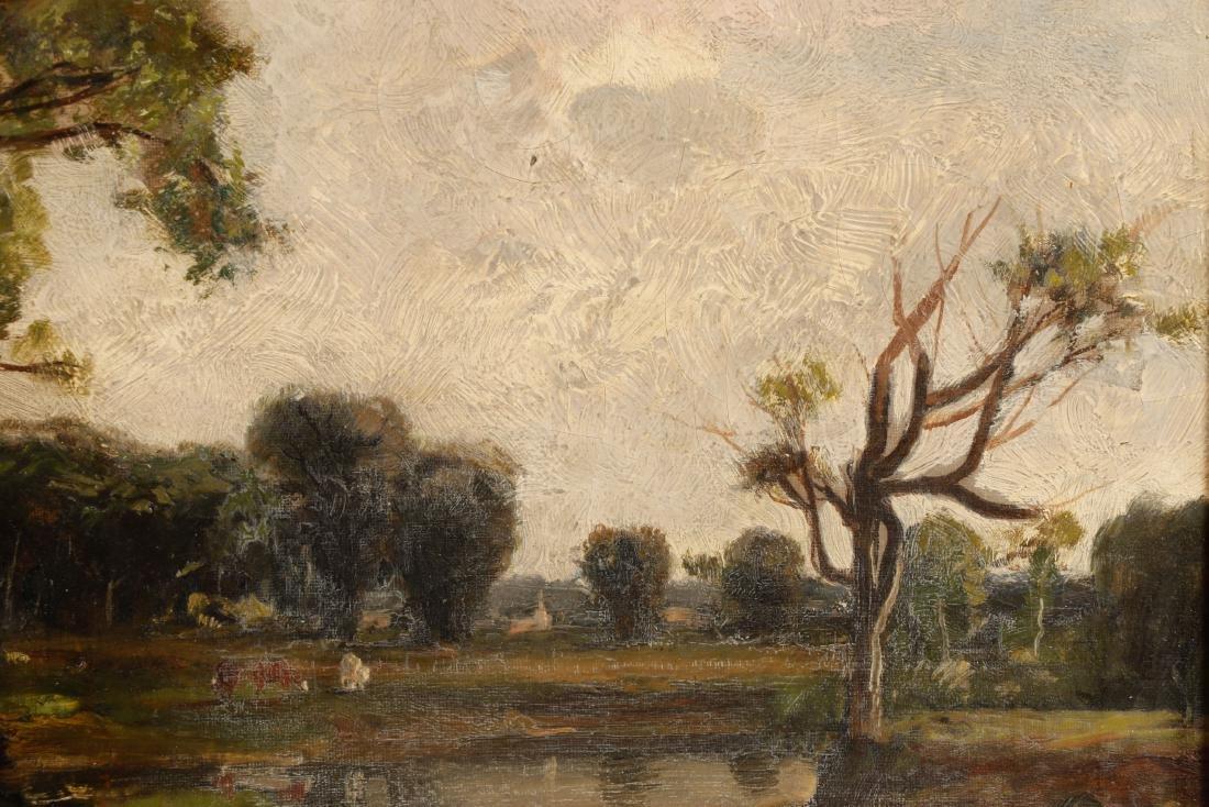 19th C. American School Oil Landscape, Duck Pond - 3