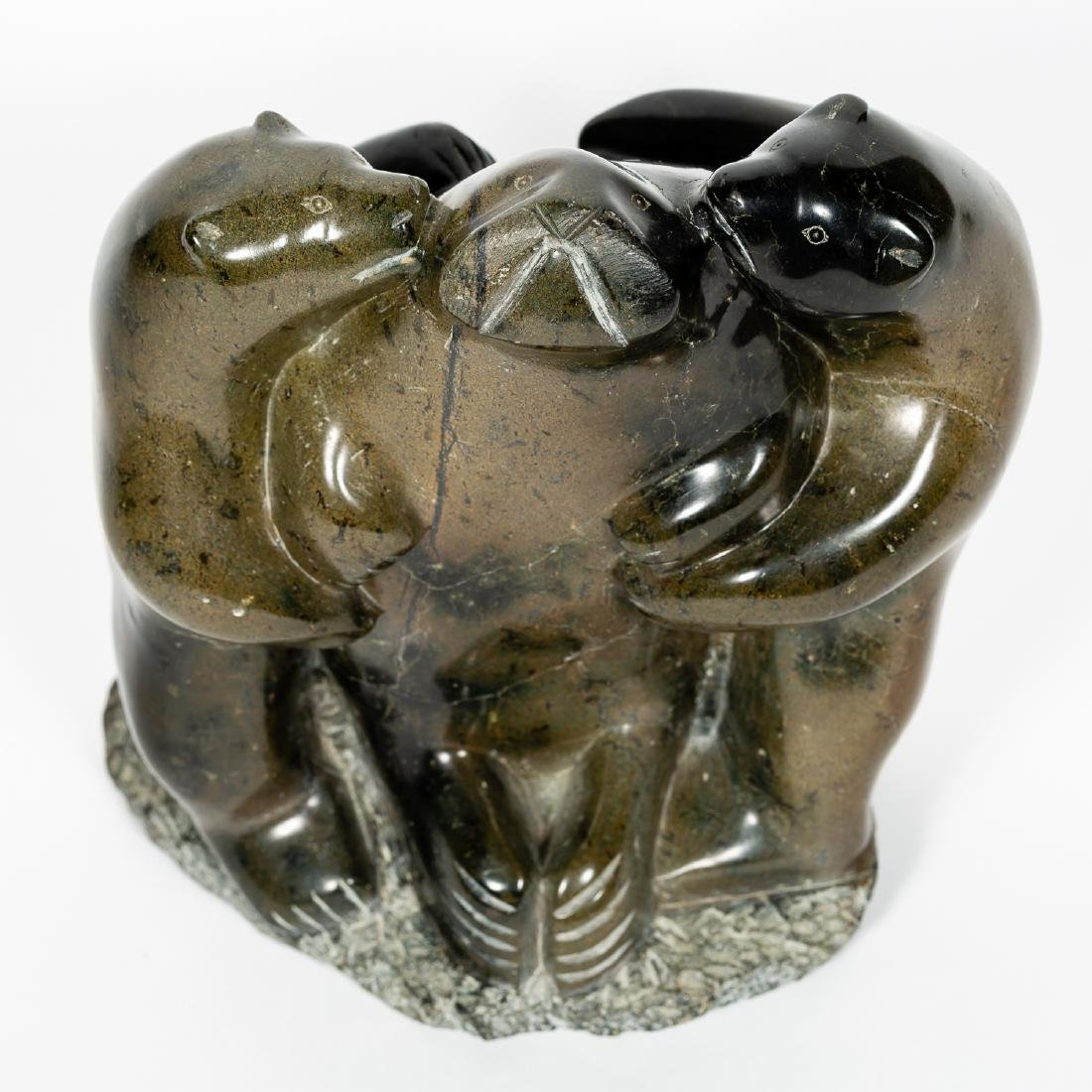 Carved Stone Inuit Sculpture, Two Bears & Seal - 4