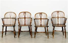 Four 19th Century English Windsor Style Armchairs