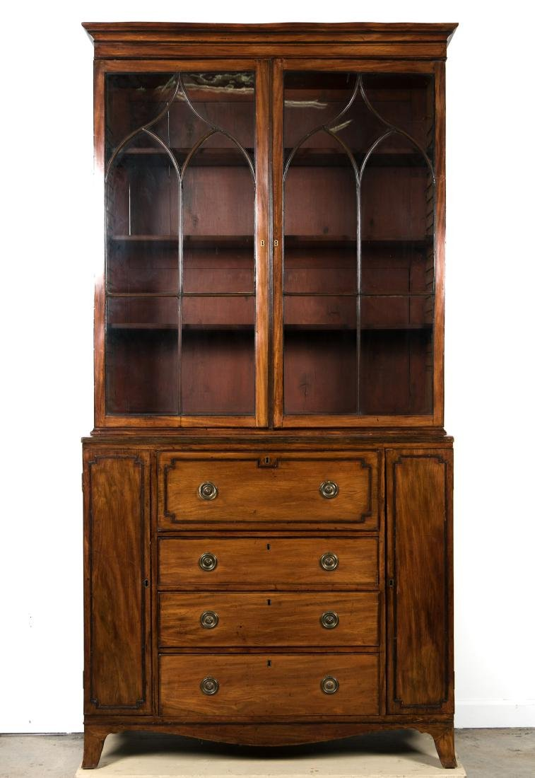 19th C. George III Mahogany Secretary Bookcase