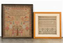 Two 19th C. English Needlepoint Samplers, Signed