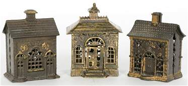 Group of 3 Building Cast Iron Still Coin Banks