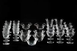 28 pc Etched Crystal Set, Goblets and Bowls
