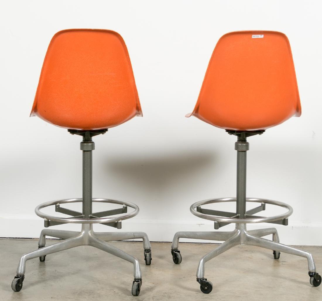 Pair of Herman Miller Orange Drafting Stools - 2
