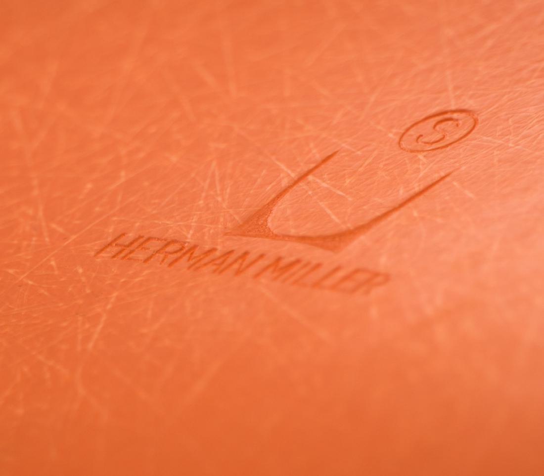Pair of Herman Miller Orange Drafting Stools - 3
