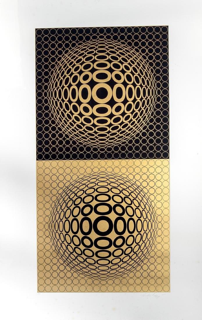 "Victor Vasarely Unframed Serigraph, ""Meta V"""