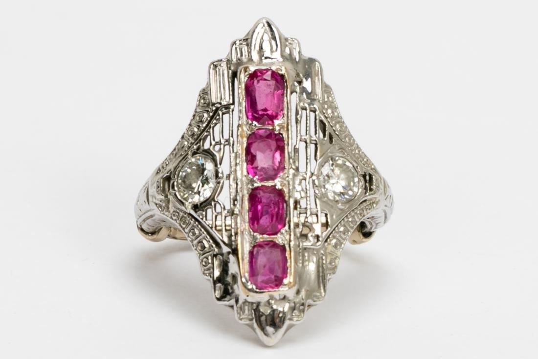 Art Deco 14k White Gold, Ruby, & Diamond Ring