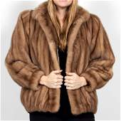 CM Furs Ladies Short Light Brown Mink Fur Coat