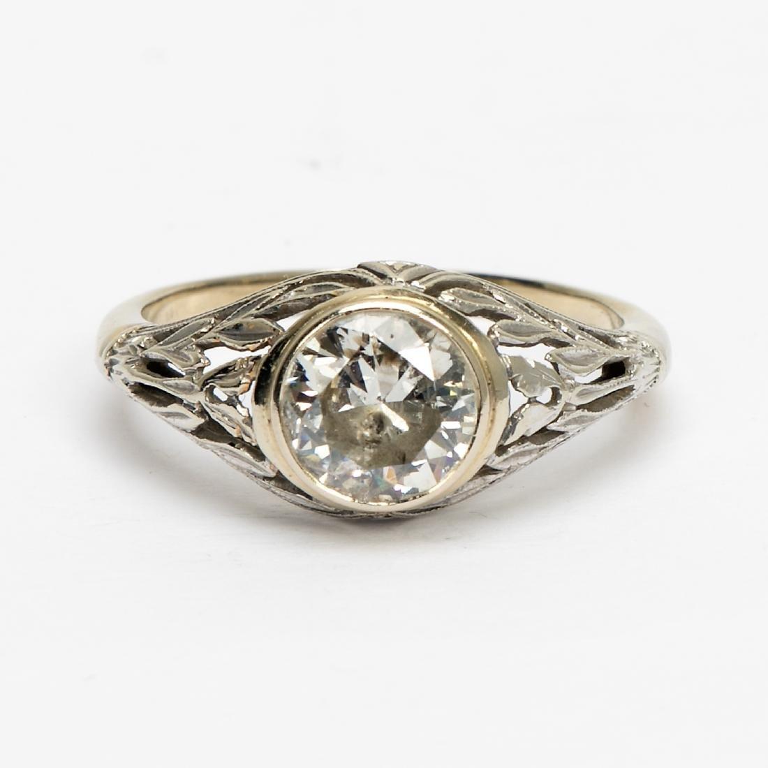 Antique Art Deco c.1920's White Gold Diamond Ring
