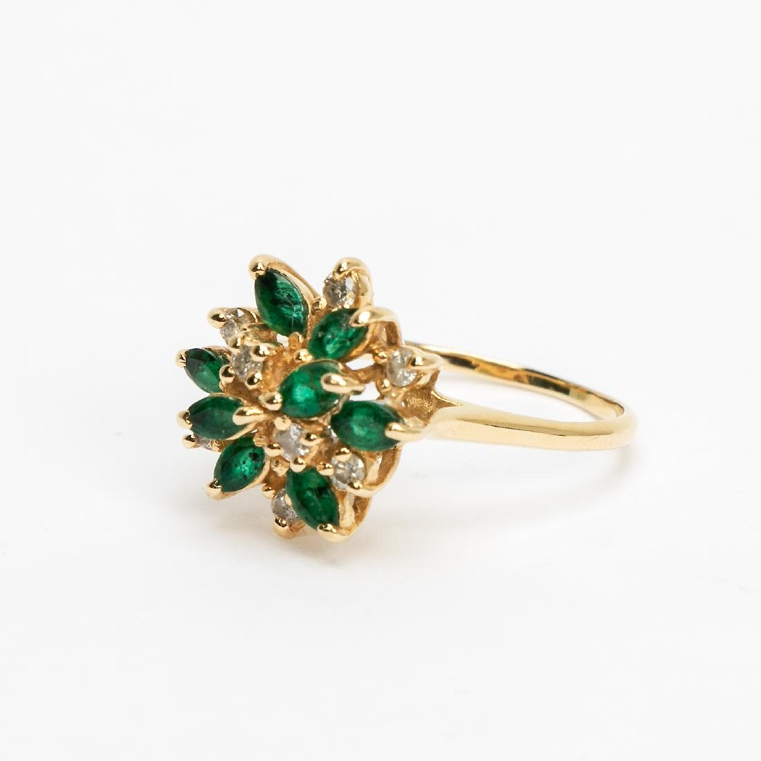 14k Gold, Emerald, & Diamond Cluster Ring