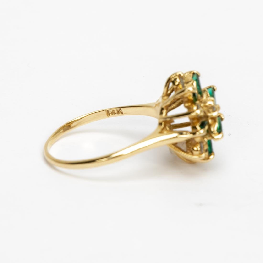14k Gold, Emerald, & Diamond Cluster Ring - 2