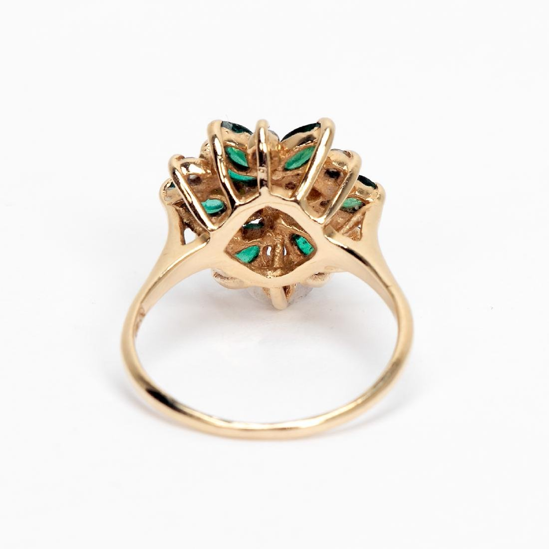14k Gold, Emerald, & Diamond Cluster Ring - 3