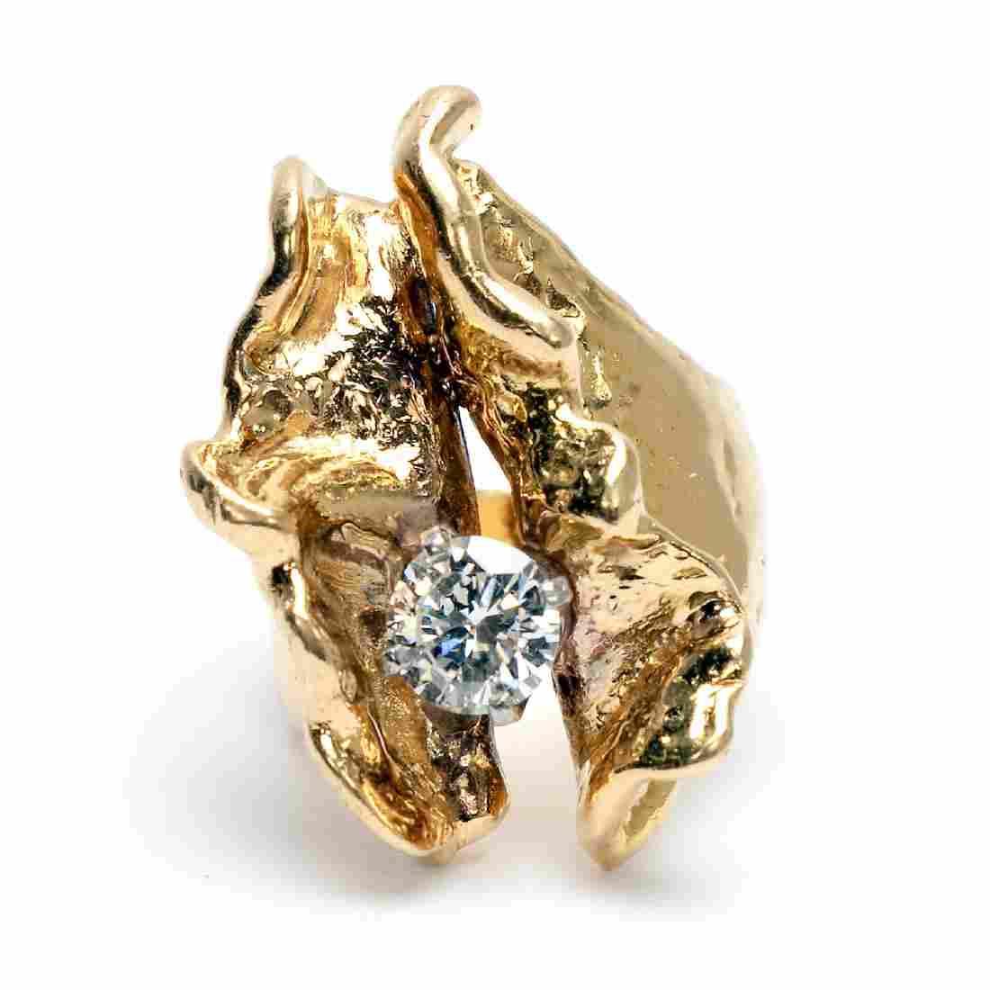 18k Yellow Gold Artisan Ring with GIA Diamond
