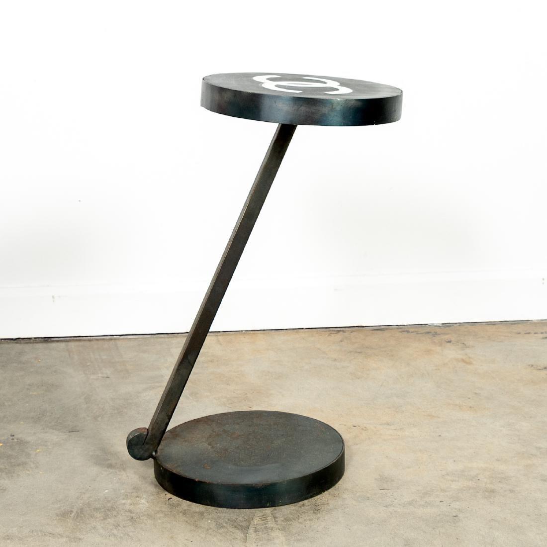 Custom Industrial Side Table, Interlocking C Logo