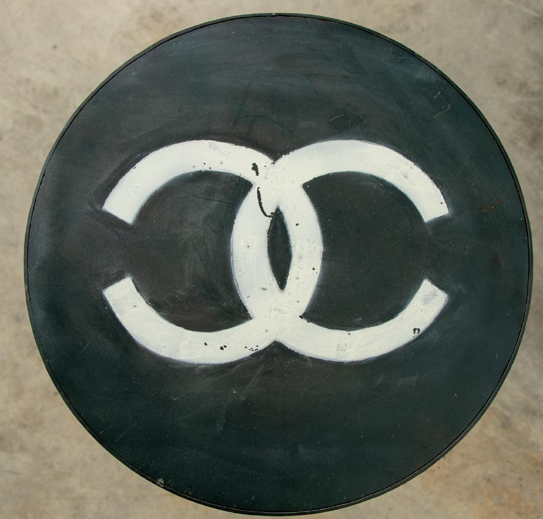 Custom Industrial Side Table, Interlocking C Logo - 2