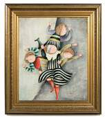 Joyce Roybal Signed Oil on Canvas, Multi-Figural
