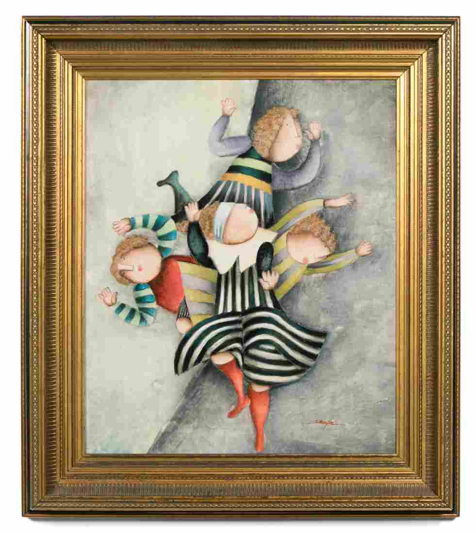Joyce Roybal Signed Oil on Canvas, Multi-Figural