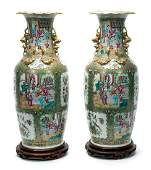 Pair of Chinese Rose Medallion Vases on Stands