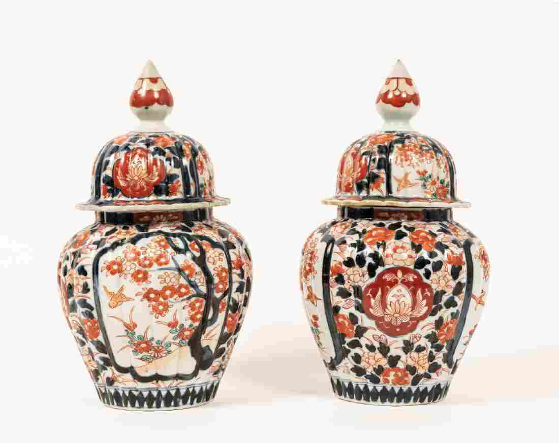 Pair, Imari Decorated Lidded Ginger Jars