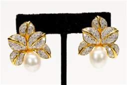 Pair, 18K Gold Earrings w/ Pearls & Diamonds