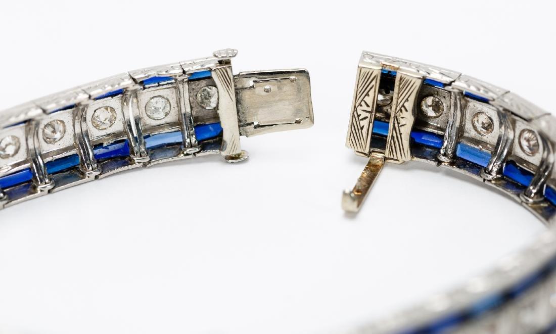 Art Deco 18K  Diamond & Sapphire Buckle Bracelet - 4